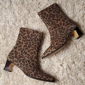 ETIENNE AIGNER Leopard Print Booties with …